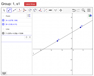 MathNet student view showing two students collaboratively graphing a line